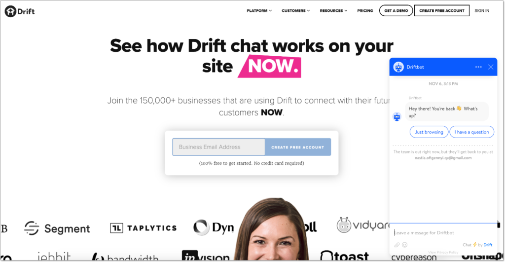 Drift chat voor marketing en sales